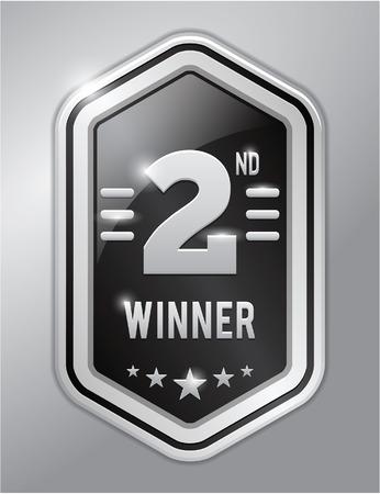 second: Second winner silver badge Illustration