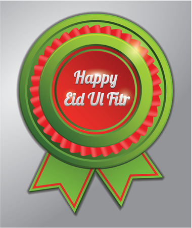 fitr: eid al fitr red green badge