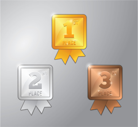bronze medal: gold, silver and bronze medal for 1,2 and 3 Place winner Illustration