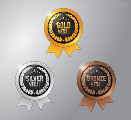 Or, l'argent et le gagnant de bronze insigne médaille Banque d'images - 43334343