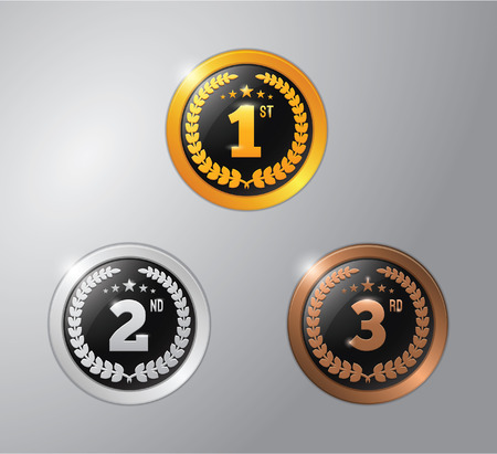 gold silver: gold, silver and bronze winner badge
