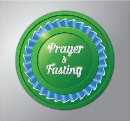 fasting: Ramadhan kareem badge : prayer and fasting