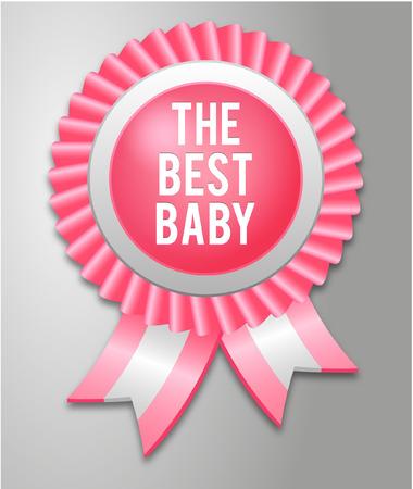 baby girl: Baby Shower Ribbon for baby girl Illustration