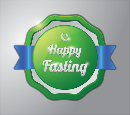 fasting: Ramadhan kareem badge : happy fasting
