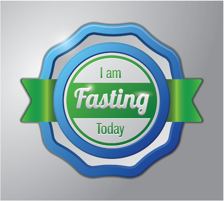 fasting: Ramadhan kareem badge : i am fasting today Illustration