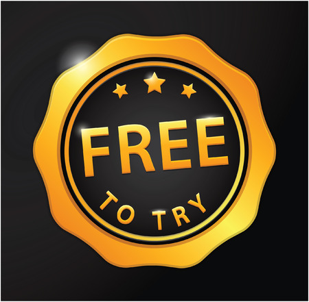 try: Free to try golden badge Illustration