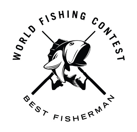 rainbow trout: world fishing contest badge Illustration