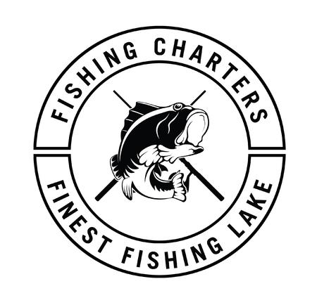 fisher: Fishing charter : Fisher label badge Illustration