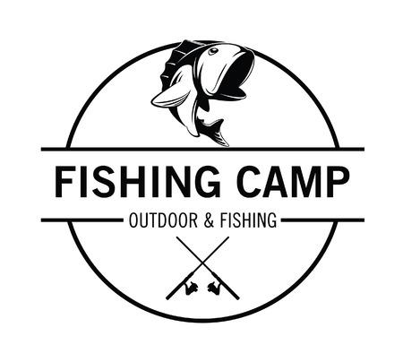 salmon leaping: fishing camp badge