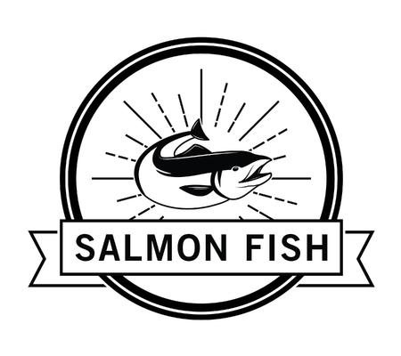 salmon fish: Salmon fish : Fishing fish badge Salmon fish Illustration