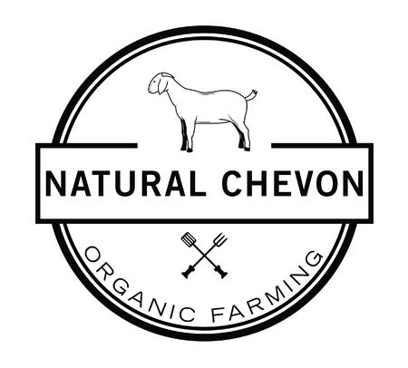 goat cheese: Natural Organic Farming badge Illustration