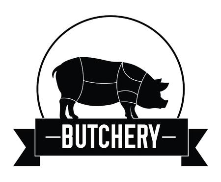 carnicería: Insignia de cerdo Carnicería Vectores