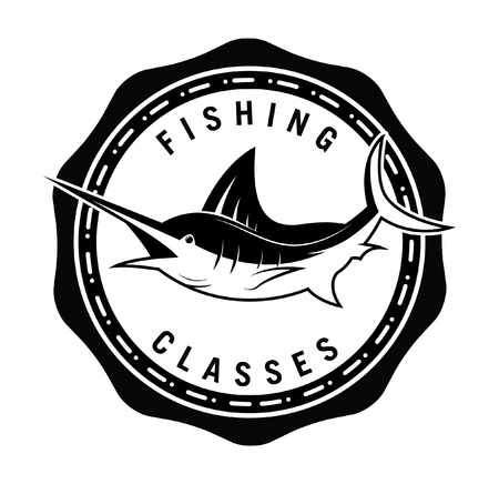 marlin: Marlin fish badge Illustration
