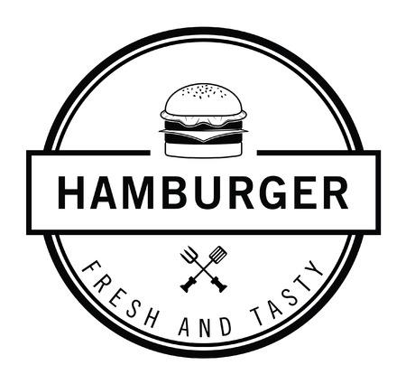 Fresh and Tasty Burger, french fries  soft drink badge Illusztráció