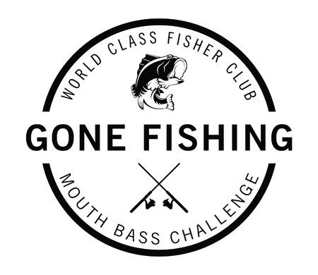 Gone fishing : Fisher label badge  イラスト・ベクター素材