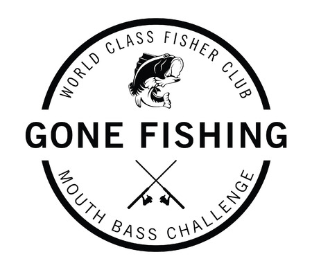 Gone fishing : Fisher label badge Vettoriali