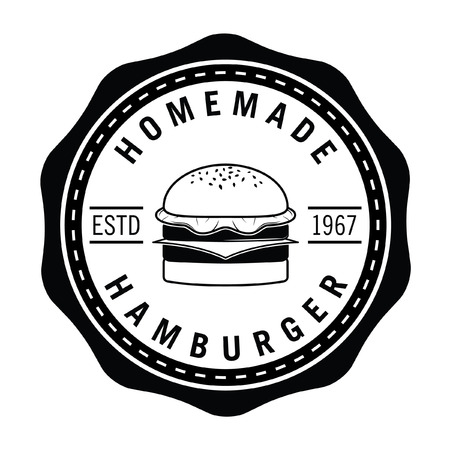 home made: Home made Hamburger, french fries  soft drink badge Illustration