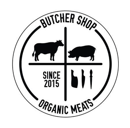 meats: Butcher shop organic meats badge Illustration
