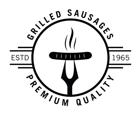 Premium quality : Seafood and grill label Иллюстрация