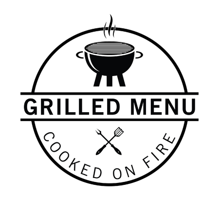 Grilled menu : Seafood and grill label Иллюстрация