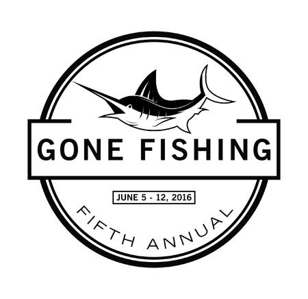 salmon leaping: Marlin fish badge Illustration