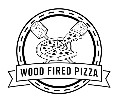 pizzeria label design: Wood fired pizza