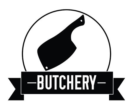 carnicería: insignia cuchillo de carnicería Vectores