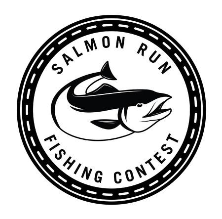 salmon fish: Salmon run : Fishing fish badge Salmon fish Illustration