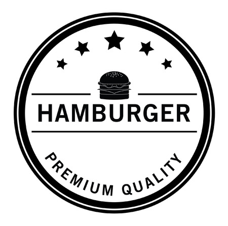 Premium quality Burger,french fries  soft drink badge Иллюстрация