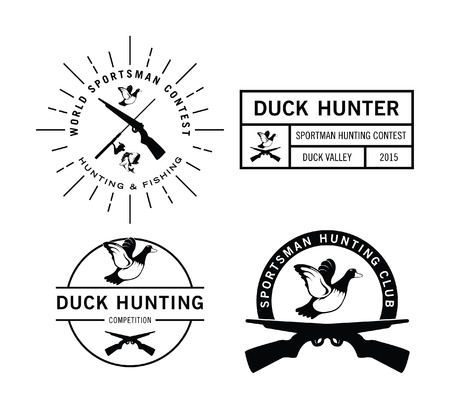 duck hunting: Duck Hunting label badge Illustration