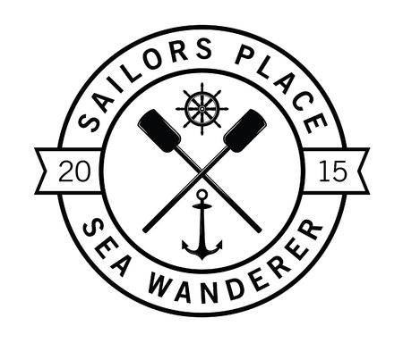 wanderer: Sailor place - Sea wanderer - Nautical label badge Illustration