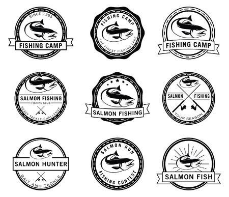 salmon fish: Fishing fish badge Salmon fish Illustration