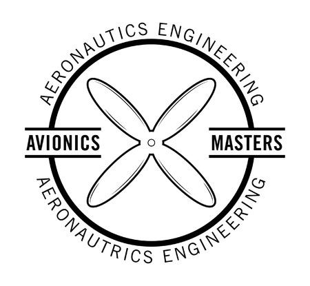 avionics: Avionics master - Nautical label badge Illustration