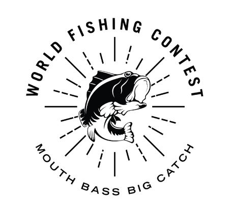 fisher: World fishing contest : Fisher label badge Illustration