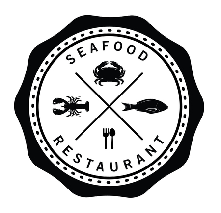 prawn: Seafood restaurant : Seafood label badge