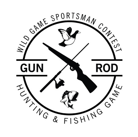 Hunting and fishing game label badge