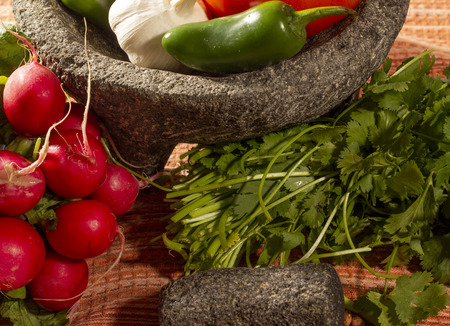 Fresh and healthy Mexican molcajete ingredients Stock Photo