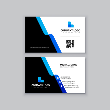 Black and blue business card Çizim