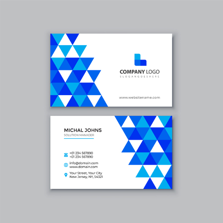 Blue polygonal business card Stock Illustratie