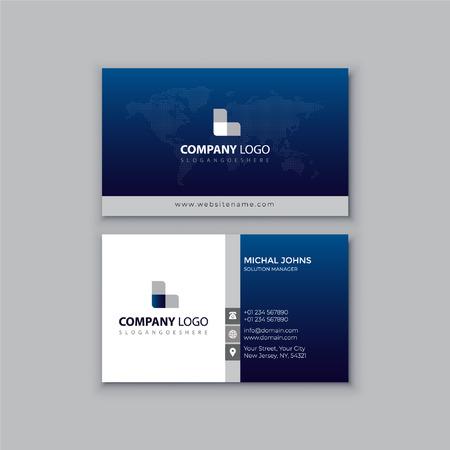 Corporate blue business card design