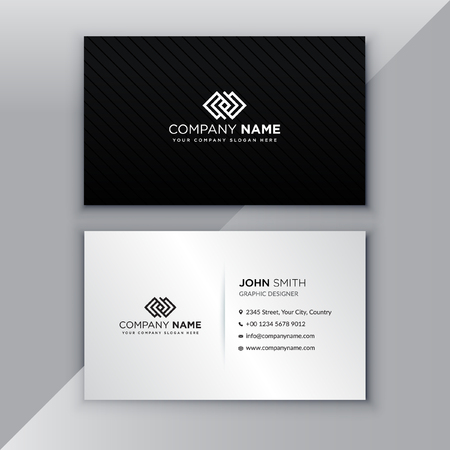 Black and silver minimalist business card