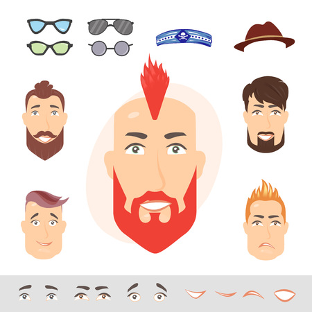 Man face emotions constructor. Hipster parts eyes, lips, beard, mustache avatar creator vector cartoon character creation spare parts spares animation. Illustration