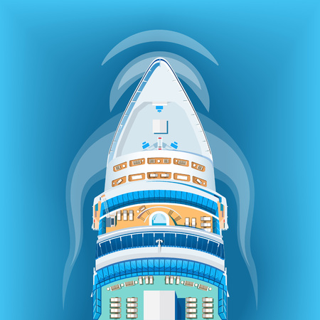 Ship top view vector illustration. Cruise liner to paradise