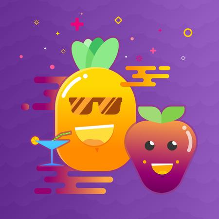 Gelukkige glimlach tropische vruchten en bessenpartij Stock Illustratie