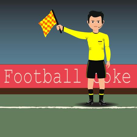 arbitros: Árbitros asistentes con bandera en el partido de fútbol.