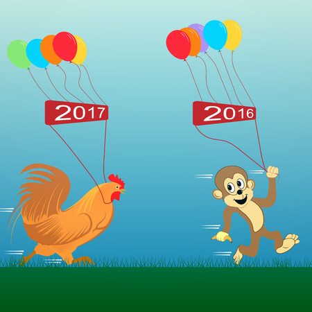 enjoyable: rooster and monkey illustration. new Year 2017