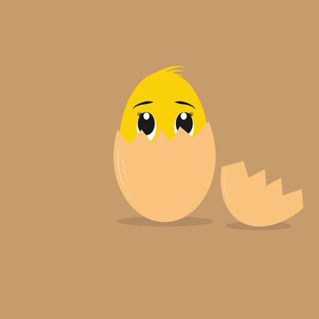 Cute Cartoon Character Chicken egg Ilustrace