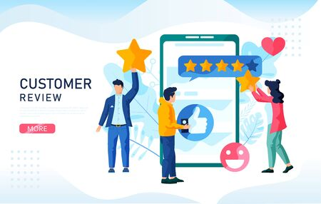 Customer Reviews concept. People value the quality of service. You can use, for web landing page, mobile app, banner template.