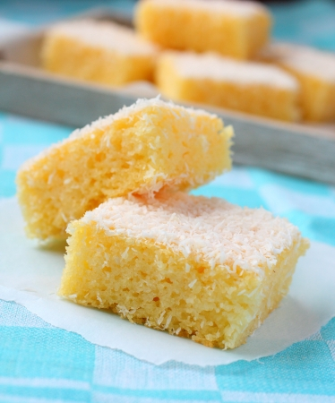 semolina: Semolina cake with coconut on a blue background Stock Photo