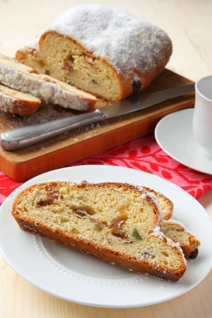 Sliced stollen, a traditional German fruit cake Stock Photo - 17006316